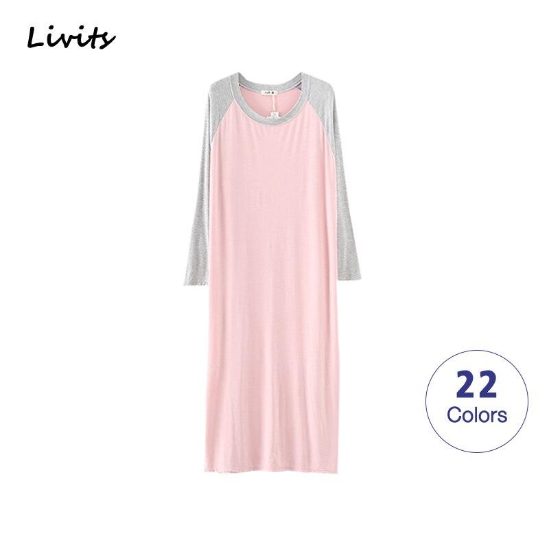 Women Pajamas Stretchable Modal Pyjamas Nightgown Nightdress Sleepwear Nightwear Long Sleeve Plus Size Casual Sexy Korean SA0134 1