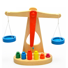 Wooden New Balance Scale Toy Montessori Educational Toy With 6 Weights For Kids baby A27#NO