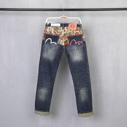 Nuovo Ripiani Evisu Superiore di Modo di Qualità casual Hip Hop Dei Jeans degli uomini Del Ricamo di Stampa degli uomini Autentici Traspirante Pantaloni Dritti