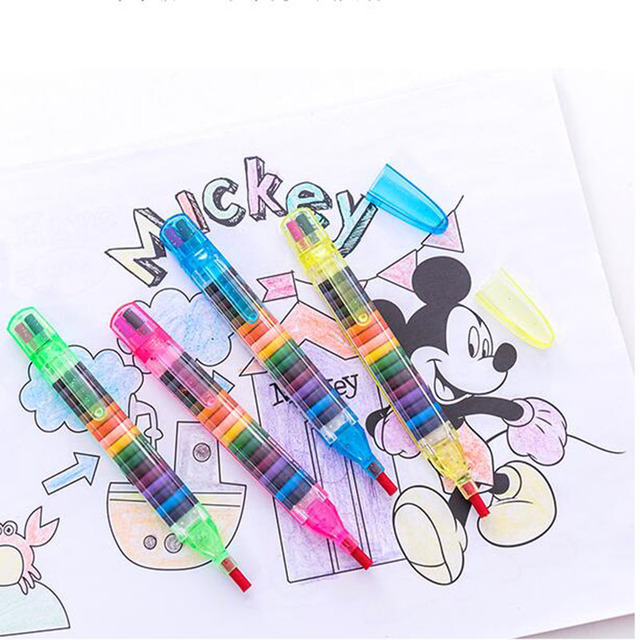 1Pieces 20colors Color Crayons Stacker Primary School Children'S Safety Painting Art Painting Gifts Graffiti Pen Oil Pastel 2