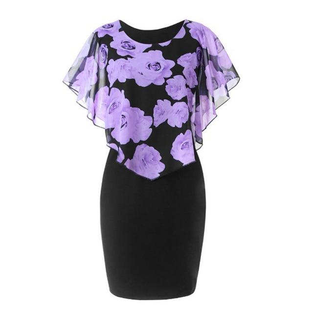 Plus Size Womens Dress Elegant Office Lady Rose Flower Print Cape Bodycon Knee Length Dress 5