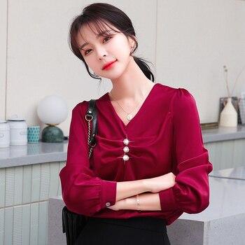 Korean Silk Women Blouses Women Long Sleeve Shirts Top Woman V-neck Shirt Ladies Tops Plus Size Casual Woman Satin Blouse Shirt women shirts casual v neck blouse tassel denim top ladies tunic long sleeve shirt summer long tops fashion