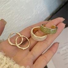 XIALUOKE Neue Mode Metall Unregelmäßigen Runde Offene Breite Gelenke Zeigefinger Emaille Epoxy Ring Set Für Frauen Partei Schmuck Geschenk