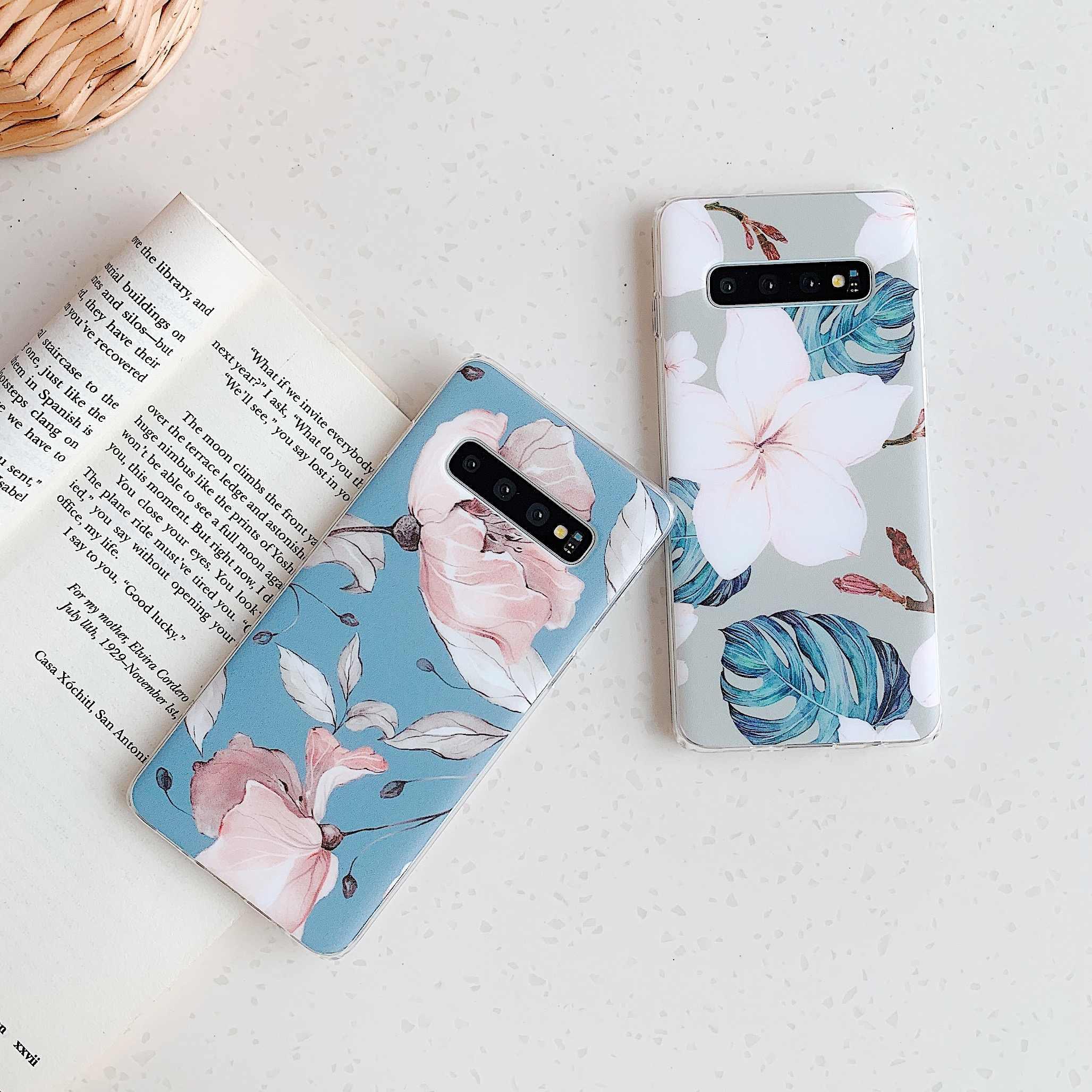 Vintage çiçek mavi muz yaprağı telefon kılıfı Samsung Galaxy S9 S8 S10 artı not 10 artı A40 A50 S20 artı yumuşak IMD kabuk kapak