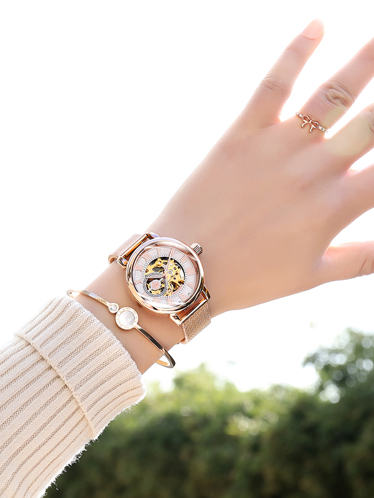 Watch Women Mechanical-Watch Skeleton Automatic Brand Femme Luxury for Rose Montre New-Fashion