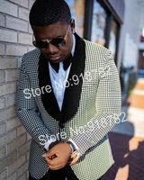 Wedding Suit For Men Groom Suit 2020 New Designs Black Blazer White Dot Formal Groomsmen Tuxedo Suit Slim Fit Costume Homme