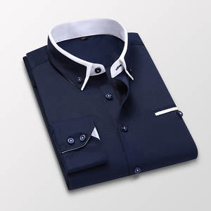 Men Slim Fit Shirts Blue White Long Sleeve High Quality Men's Clothing Soft Comfortable Wedding Formal Business Office Shirts
