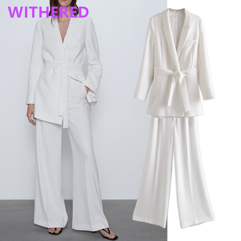 Dave&Di England Vintage Sashes Casual White Blazer Women Blazer Mujer 2020 Jackets  High Waist Wide Leg Suits Pants 2 Pieces Set