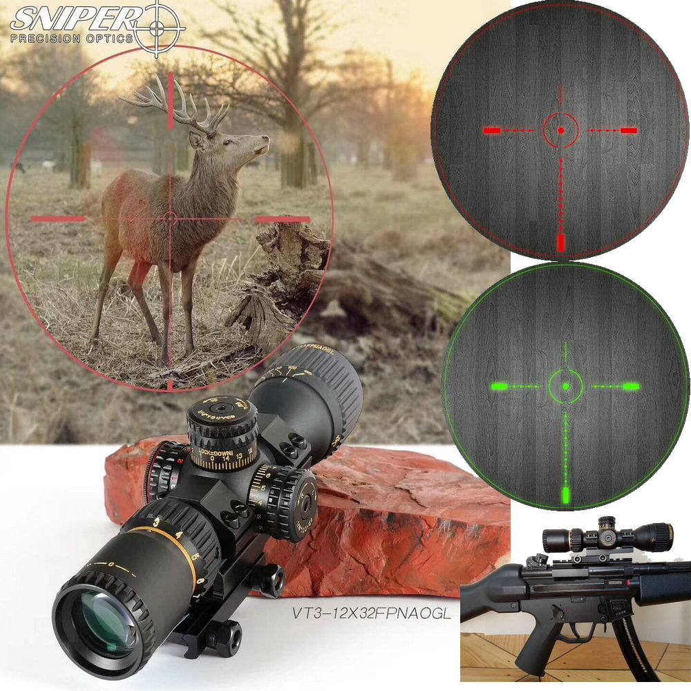 SNIPER VT 3-12X32 FFP Hunting Compact Optical Sight Tactical Riflescope Glass Etched Reticle Red Green Llluminate Hunting Optics