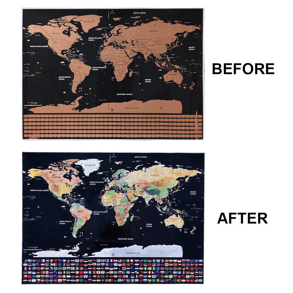 Gran tamaño de 82*59cm, mapa del mundo para rascar, pegatina de pared personalizada Premium, póster de banderas de todos los países, paquete para viajeros