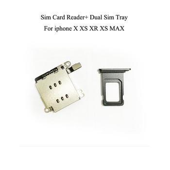 Podwójne złącze czytnika kart sim Flex Cable + taca kart sim uchwyt na slot dla iPhone XR tanie i dobre opinie Dwóch kart sim adaptery Apple iphone ów Dual Sim Card Reader