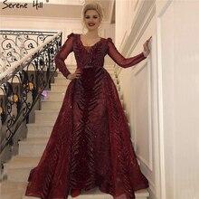 Бархатные вечерние платья красного цвета с длинными рукавами, роскошный дизайн, Бисероплетение вечерних платьев беззаботного холма размера плюс LA60903