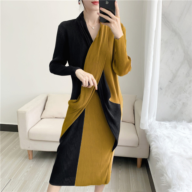Elegant Pleated Dress Women  Hit Color Patchwork Slim Cross Design  6