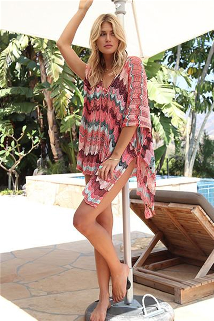 Europe And America New Style Knitted Hollow Out Mixed Colors Beach Skirt Holiday Sweater Bikini Outer Blouse Sun Shirt Women's