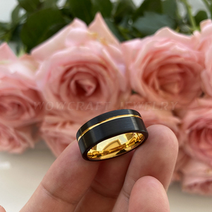 Image 5 - Black and Gold Mens Womens Tungsten Carbide Ring Wedding Band Matte Finish Pip Cut  Comfort Fit Offset Grooved Gift Anniversary