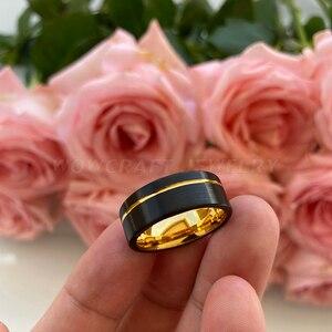 Image 5 - שחור וזהב Mens נשים טונגסטן קרביד טבעת נישואים מט גימור Pip לחתוך נוחות Fit אופסט מחורץ מתנת יום נישואים