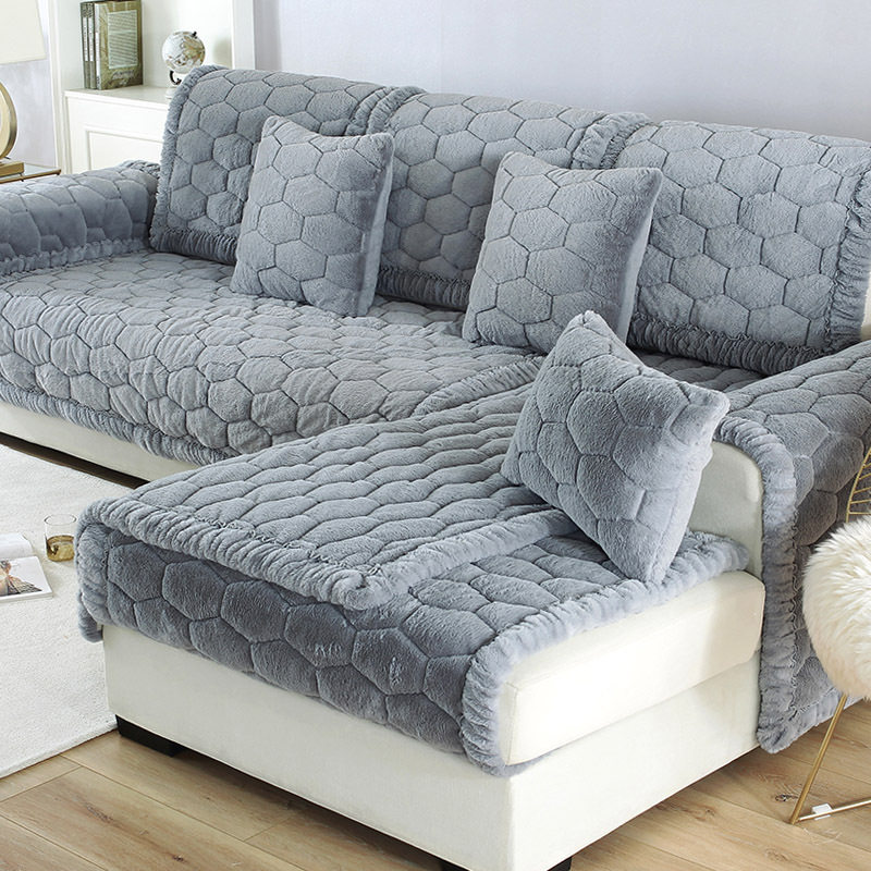 2019 New Long Plush Sofa Covers Funiturn Protector Winter Warm Thicken Couch Cover For Living Room Universal Sectional Slipcover