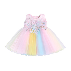 Платье для девочек на лето 2020, платье на день рождения, Крещение, платье принцессы для свадьбы, вечерние наряды для малышей, Одежда для новор...