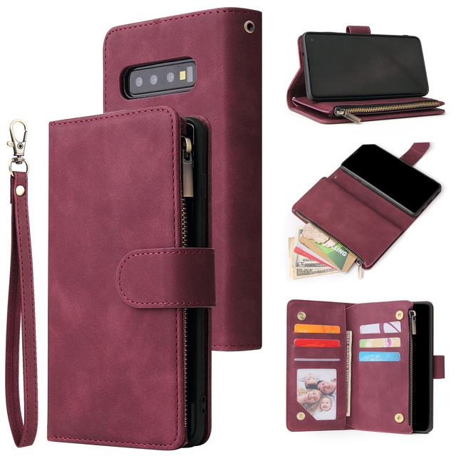 Luxe Zipper Wallet Card Case Voor Samsung Galaxy S10 S20 S9 S8 Plus S10e Note 9 10 Pro Flip Cover stand Multi Slots