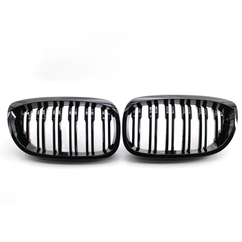 1Pair Gloss Black Double Slat Kidney Grille Grill Replacement for BMW 3Series E46 Coupe Cabrio 2003-2006 51137064317 51137064318 image
