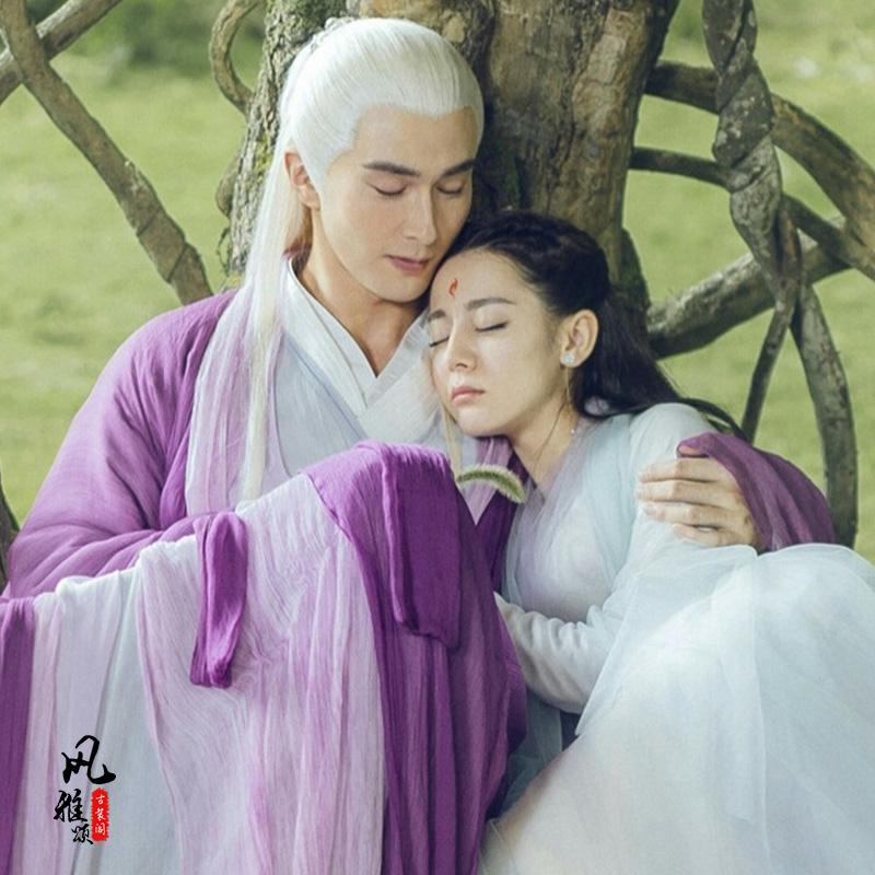 Ancient Chinese Wei Jin Dynasty Couple Lover Costume Sets For TV Play Eternal Love Of Dream Emperor DongHua Fox Princess Fengjiu