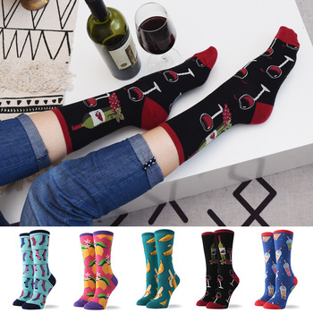New Arrival Funny Women's Cotton Crew Socks Colorful Avocado Banana Animal Pattern Creative Ladies Novelty Socks For Gifts