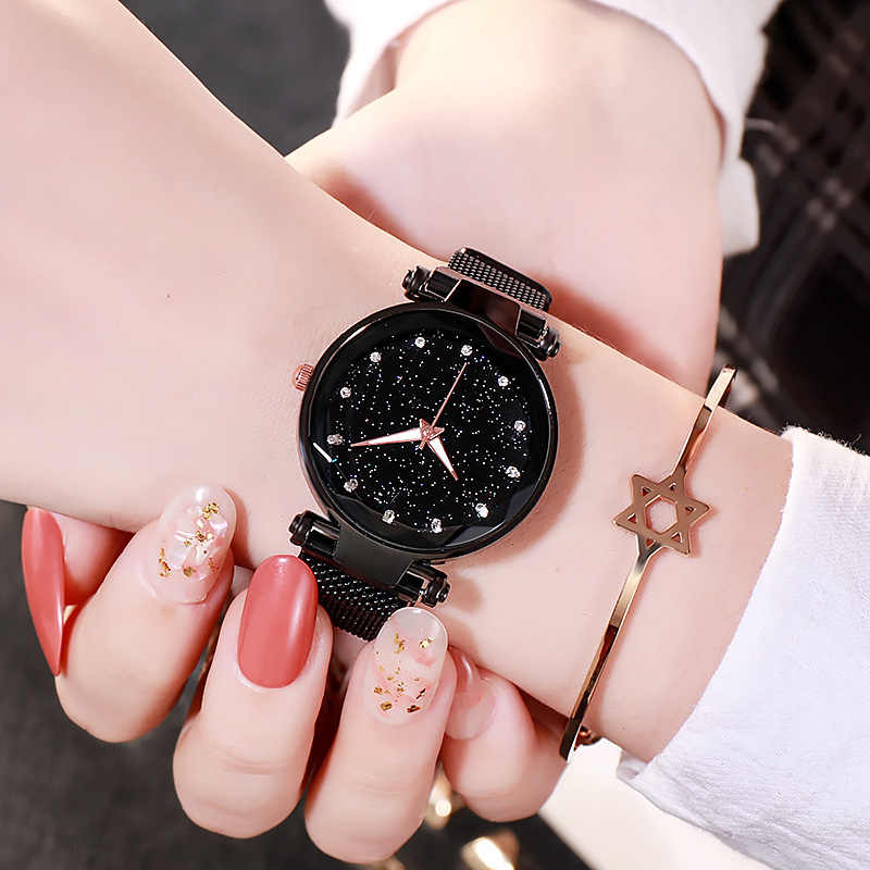 2020 moda damska zegarki luksusowe siatka magnetyczna pas Starry Star zegarek kwarcowy analogowy zegarek złota panie zegar Reloj Mujer
