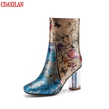 New arrivals womens short boots genuine cowhide leather high heels square toe side zipper green ladies party dancing