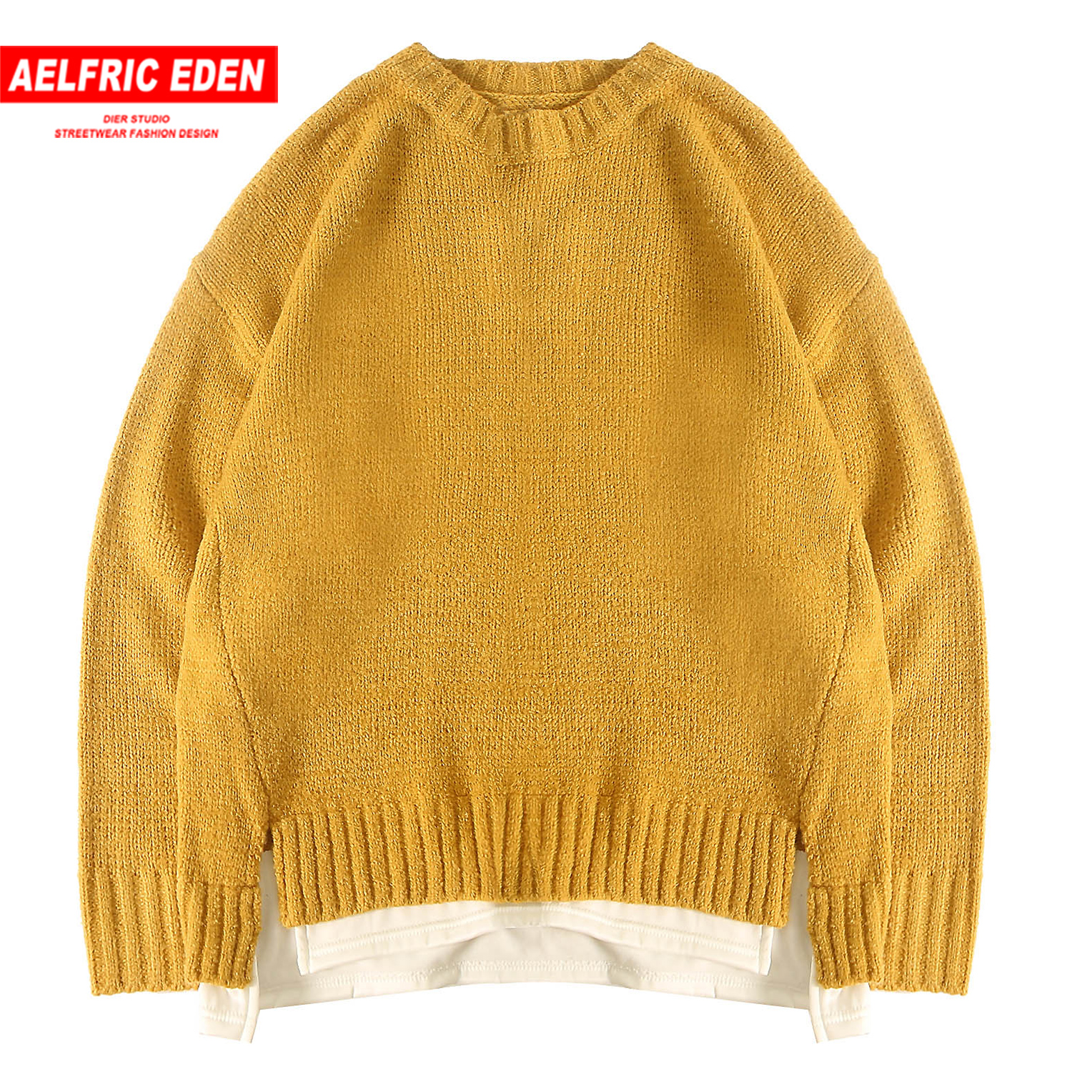 Aelfric Eden Patchwork Solid Knitwear Men Sweaters 2019 Harajuku Fashion Hip Hop Male Pullovers Casual Streetwear Oversized Tops