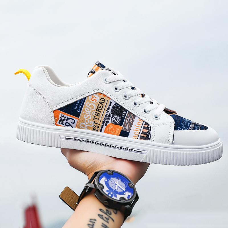 2020 New Men's Vulcanized Shoes Flat Casual Shoes Graffiti Skate Shoes Fashion Trend Comfortable Outdoor Sports Men's Shoes