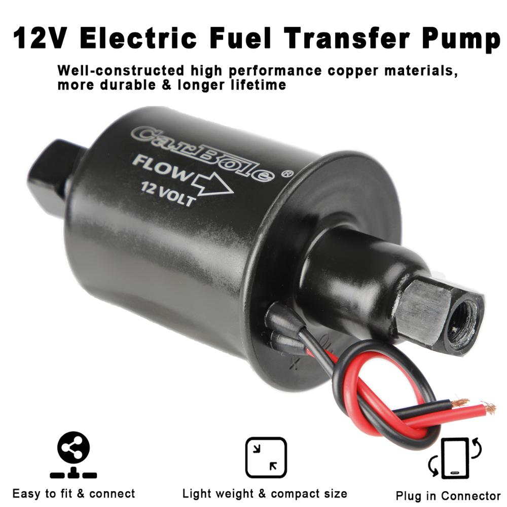 12v Universal Electric Fuel Pump 5-9 PSI 30GPH Gasoline and Diesel Fuel Transfer Pump for Carburetor Engine E8012S E8016S EP12S FD0002