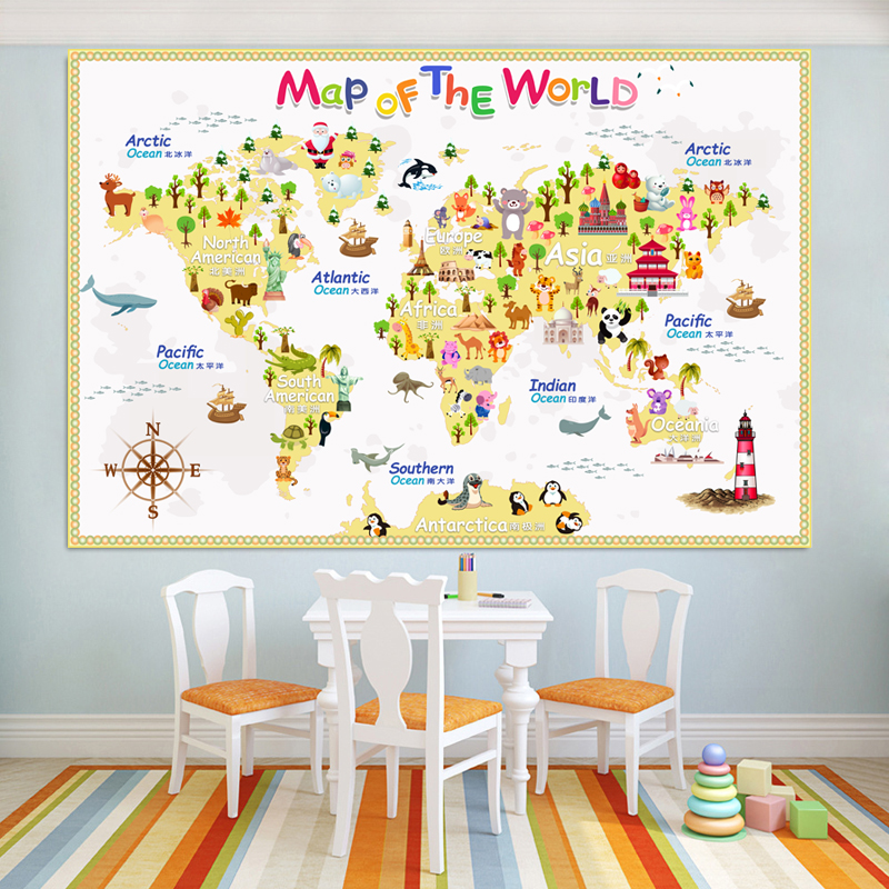 Carton World Map Poster Size Wall Decoration Large Map Of The World 80x53mm Waterproof Canvas Map Children's Bedroom Decoration