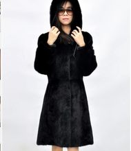 2020 Vetement Office Lady Faux Fur Coat Plus Size Overcoat Slim Fuax Mink Waterproof Coat Hooded Faux Fur Black Coat AW274(China)