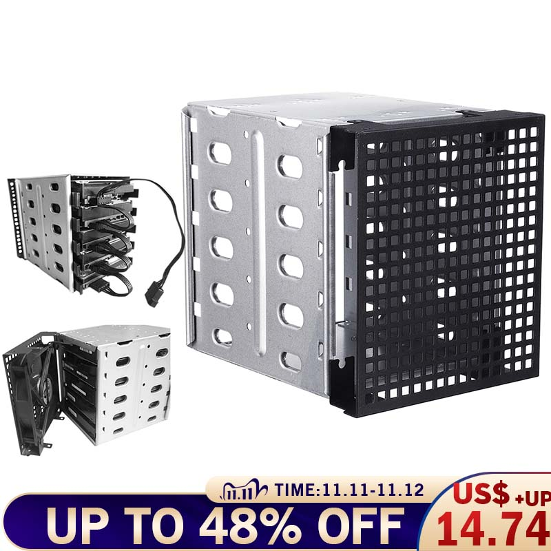 5 25inch to 5x 3 5inch SATA SAS HDD Cage Rack Hard Drive Tray Caddy Adapter Converter with Fan Space Slivers