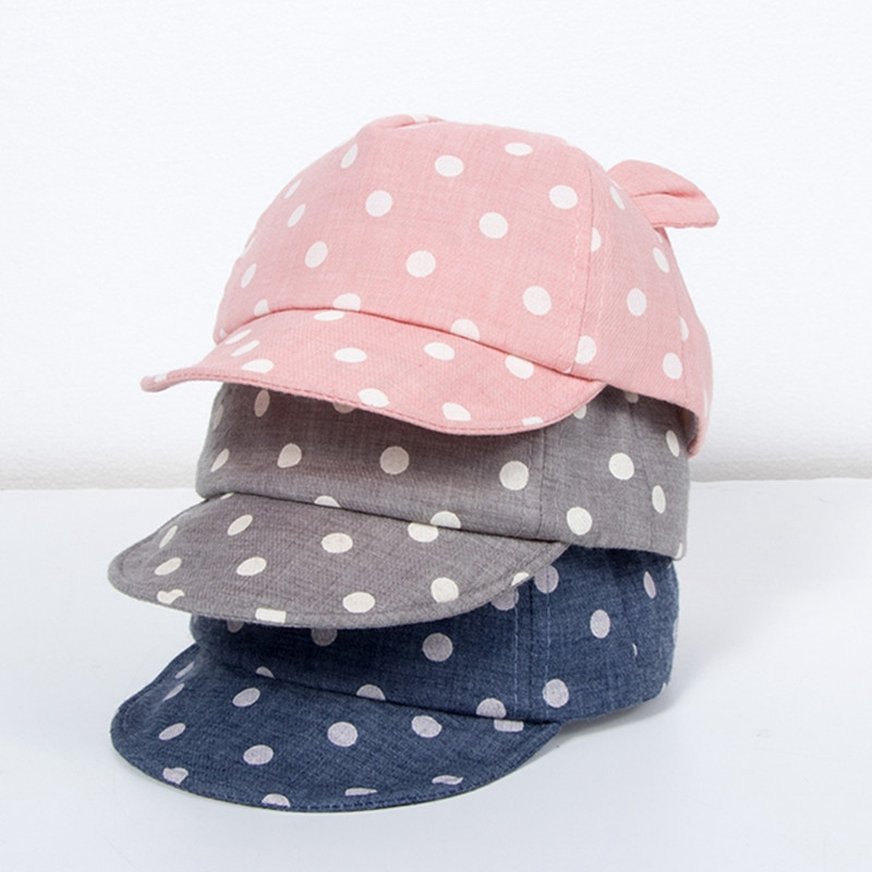Детские Солнцезащитные шапки, шапка для малыша, Милая Детская кепка в горошек, Кепка от солнца для мальчиков и девочек с ушками для весны, ре...