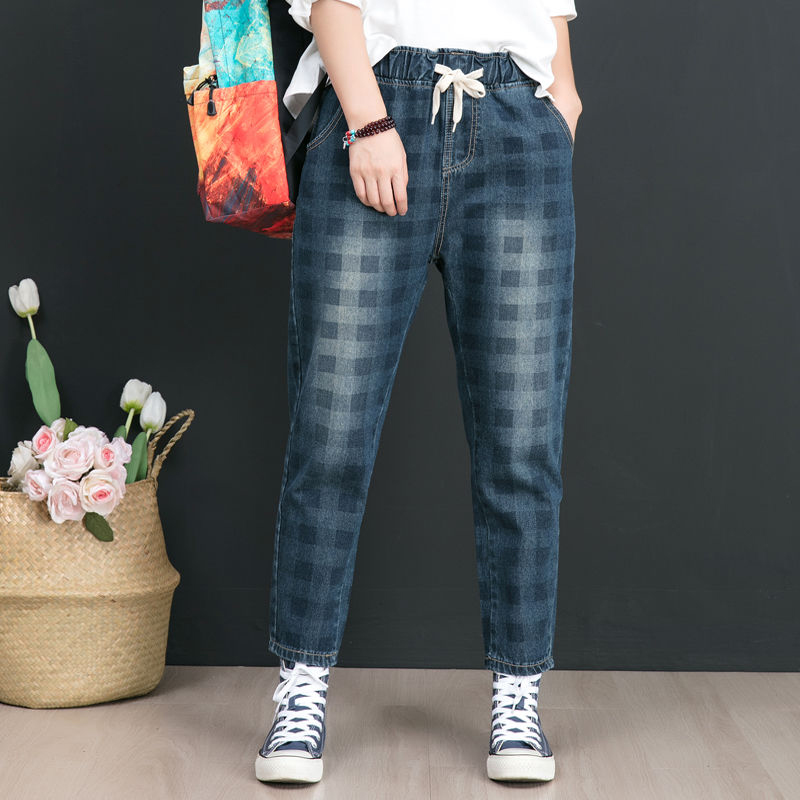 Autumn New Arts Style Women Elastic Waist Loose Cotton Denim Harem Pants Vintage Plaid Casual Jeans Plus Size High Quality D556