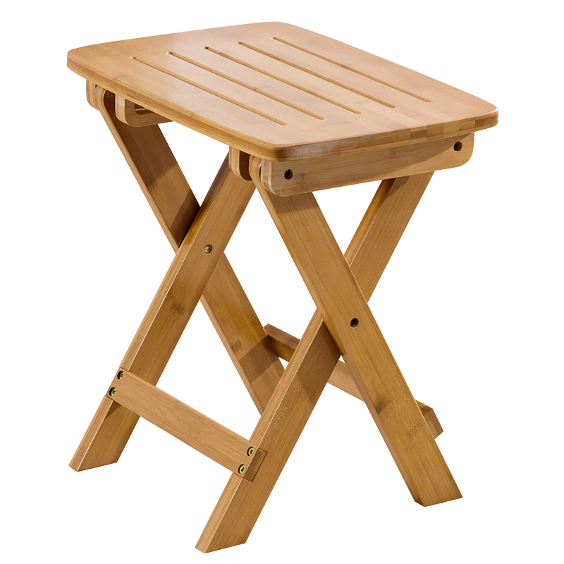 Folding stool portable home solid wood outdoor chair change shoe bench small bench Mazar plastic space