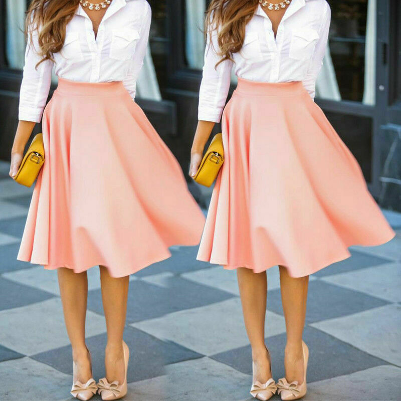 2019 Autumn Fashion Women Retro Stretch High Waist Skirts Casual Skater Flared Pleated Swing Skirt