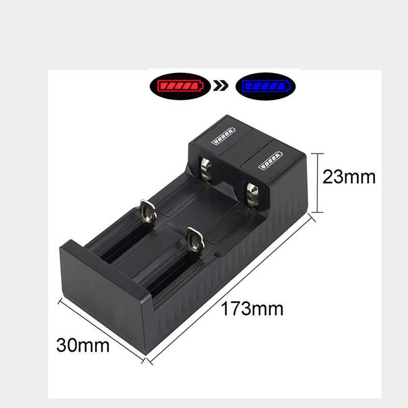 العالمي 2 فتحة البطارية شاحن يو اس بي الذكية Chargering ل قابلة للشحن بطاريات ليثيوم أيون 18650 26650 14500