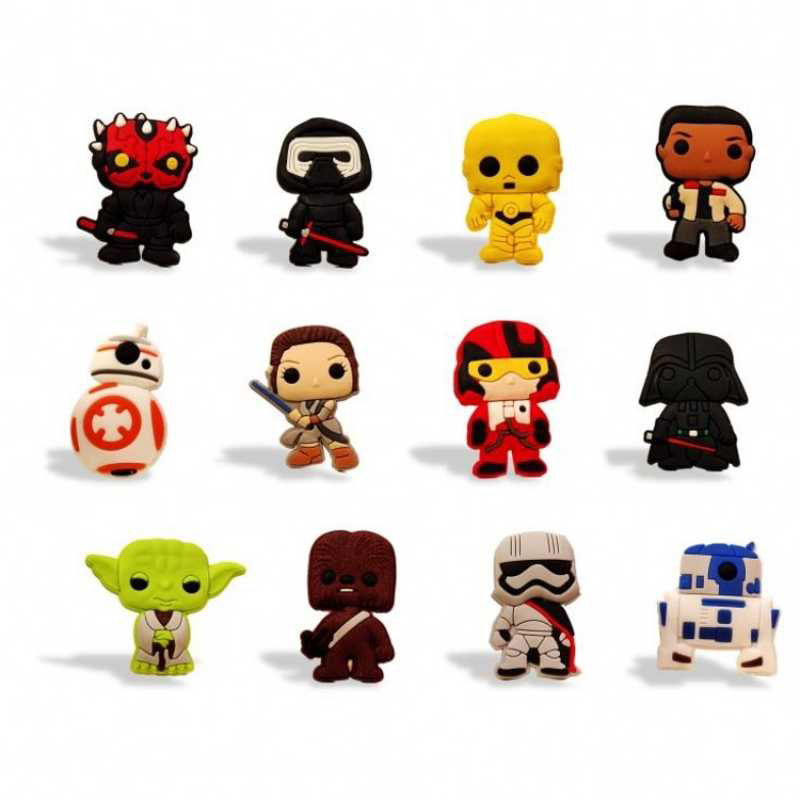 50pcs Star Wars Shoe Charms Action Figure Shoes Accessories Buckles Fit Bands Bracelets Croc Charms JIBZ Kids Birthday Gift