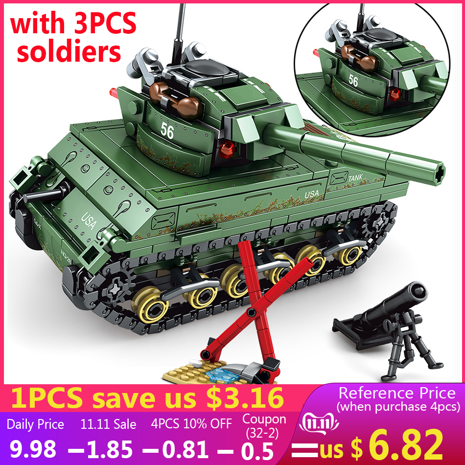 437PCS US M4 Sherman Tank Model Military Vehicles Soldier Figures Weapons Compatible Legoed Army Ww2 Building Blocks Kids Toys