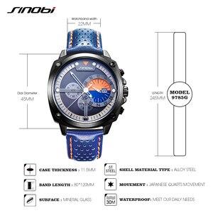 Image 4 - Sinobi メンズ腕時計トップの高級ブランド防水スポーツ腕時計クロノグラフクォーツ軍事本革レロジオ masculino