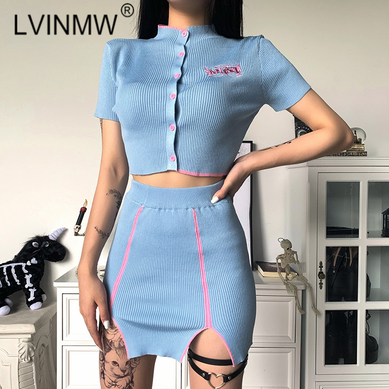 LVINMW Sexy <font><b>Rib</b></font> Knit Fashion Casual Two Pieces <font><b>Set</b></font> O Neck Short Sleeve Buttons Angel Embroidery Crop Top Elastic Waist <font><b>Skirts</b></font> image