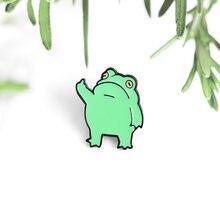 Зеленая лягушка животное эмалированные Броши с изображением