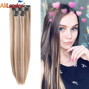 Alileader 2020New 16Clip In Hair Extension Ombre Synthetic Clip Women Straight Pink Purple