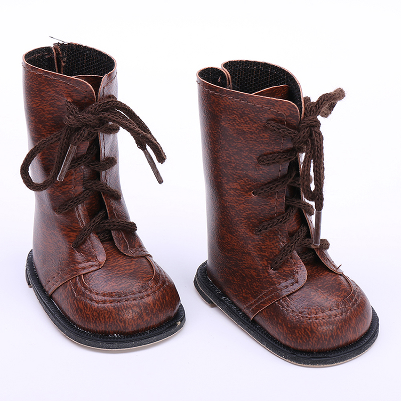 1 Pair Dark Brown Boots For 18 Inch Beauty Girl Dolls Girl Classic Toy DIY Toy Universal Accessories With Shoelaces