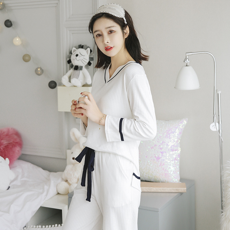 Spring And Autumn Pure Cotton Pajamas Women's Sexy Cotton Long Sleeve Korean-style Fresh Students Sweet Cute Outer Wear Set