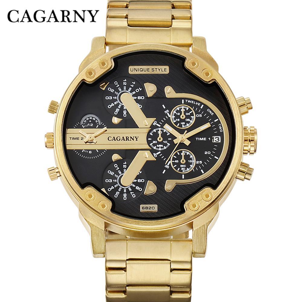 Cagarny Brand 6820 Luxury Watch Men Sport Quartz Clock Watches Waterproof Gold Steel Wrist Watch Military Relogio Masculino