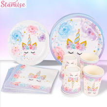 Staraise Unicorn Disposable Party Tableware Cup Plate Napkins Birthday Supplies Baby Shower Decor