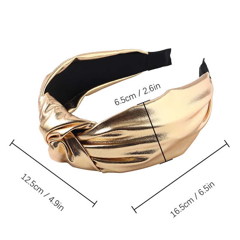 Fashion Bright Color PU Leather Headband For Hair Head Hoop Middle Knotted Wide Bezel Hair Band Solid Color Headband Headwear